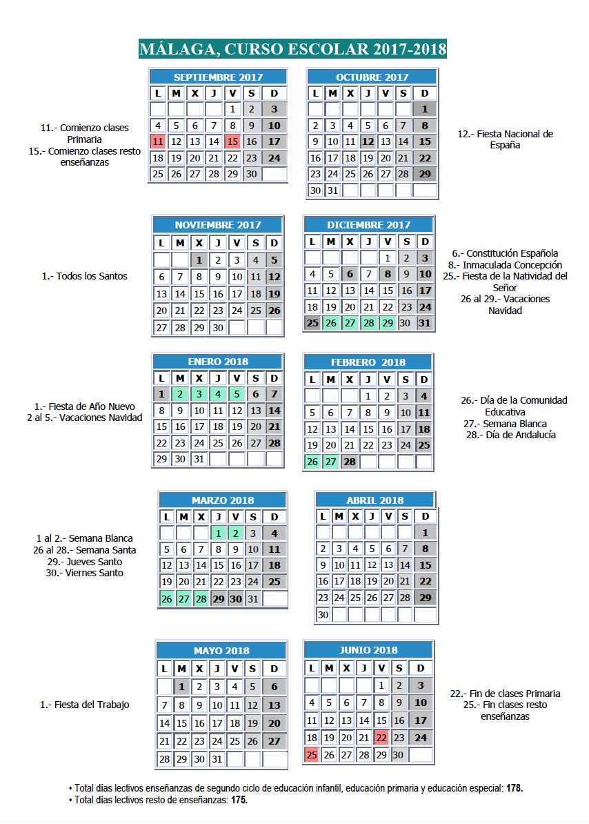 Calendario escolar Malaga 2017 2018