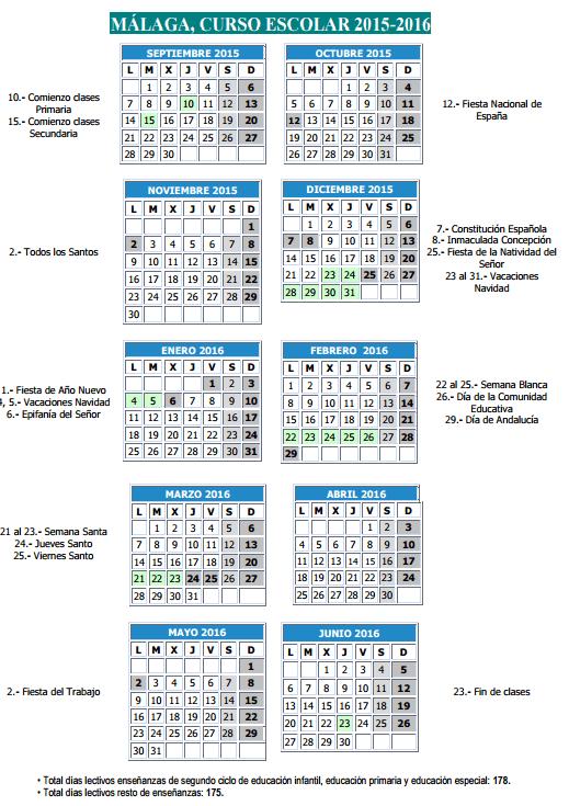 Calendario escolar 2015-16 malaga