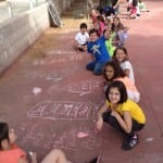 chalking on the patio