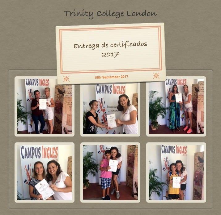 Entrega de certificados Trinity College London Septiembre 2017