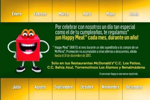 happy meal gratis cada mes durante 1 año
