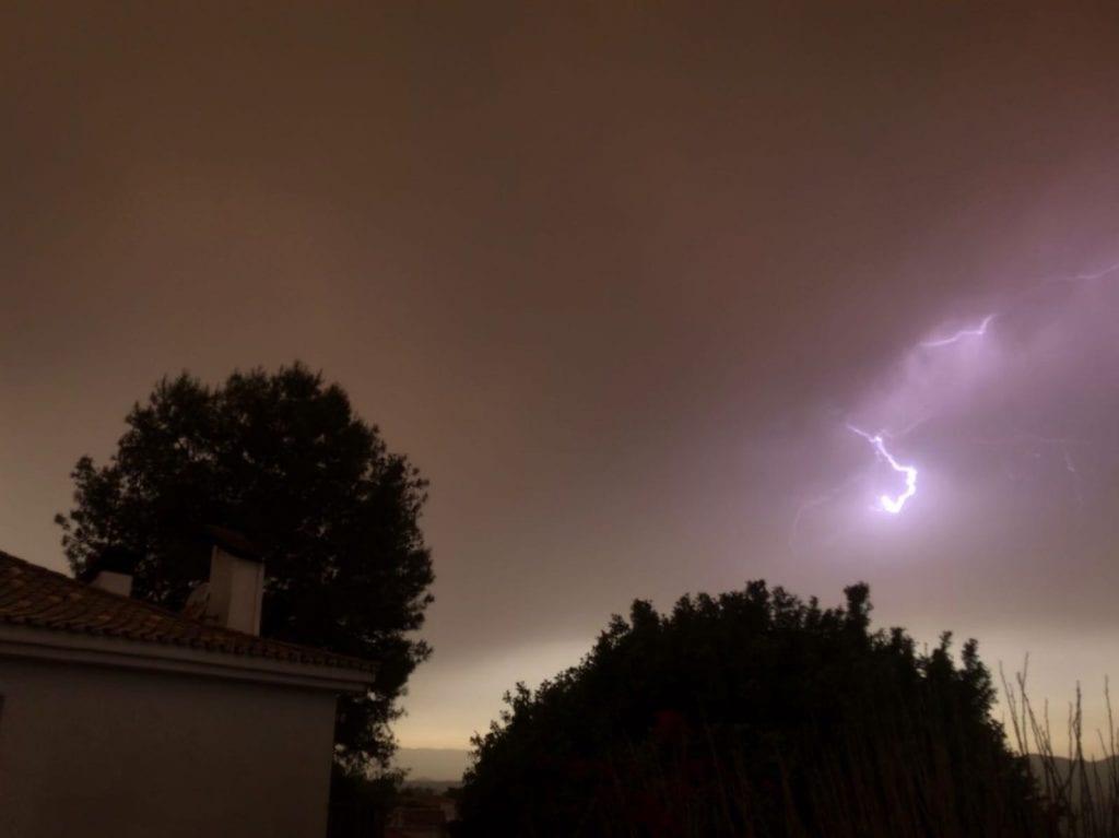 rayos y tormenta en Alhaurin de la torre, Malaga en mayo 2018