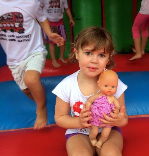 Sofia on the bouncy castle