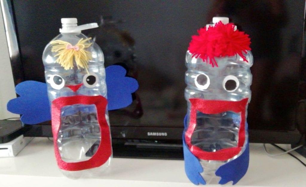 bomberos de botellas de plastico para jugar a la pelota