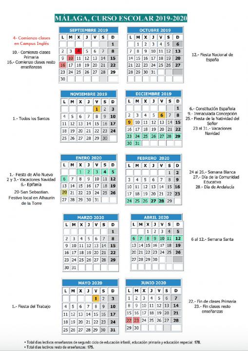 Calendario escolar curso 2019/20 Campus Inglés
